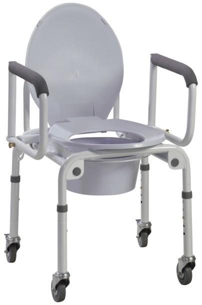 Chaise d'aisance sur roue bras escamotable